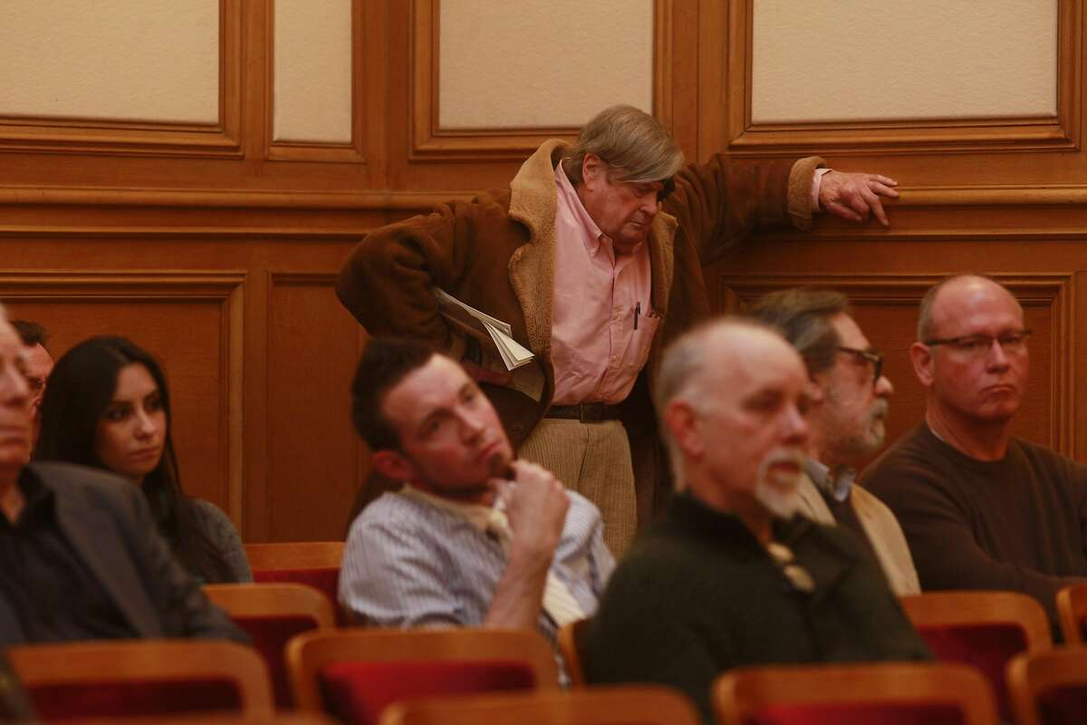 Journalist and author, Warren Hinckle waits for his turn to speak during a public hearing at the San Francisco Historic Preservation Commission in City Hall on Feb. 15, 2012, in San Francisco.