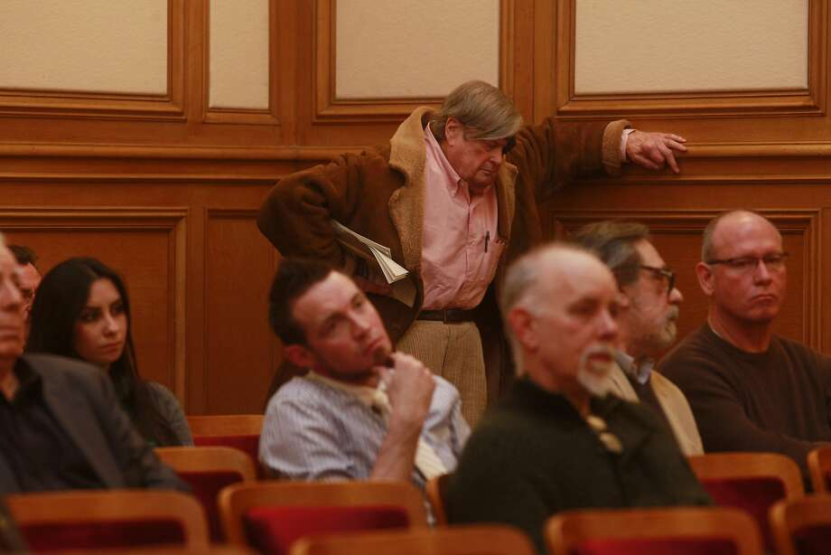 Journalist and author, Warren Hinckle waits for his turn to speak during a public hearing at the San Francisco Historic Preservation Commission in City Hall on Feb. 15,  2012, in San Francisco.  Photo: Mike Kepka