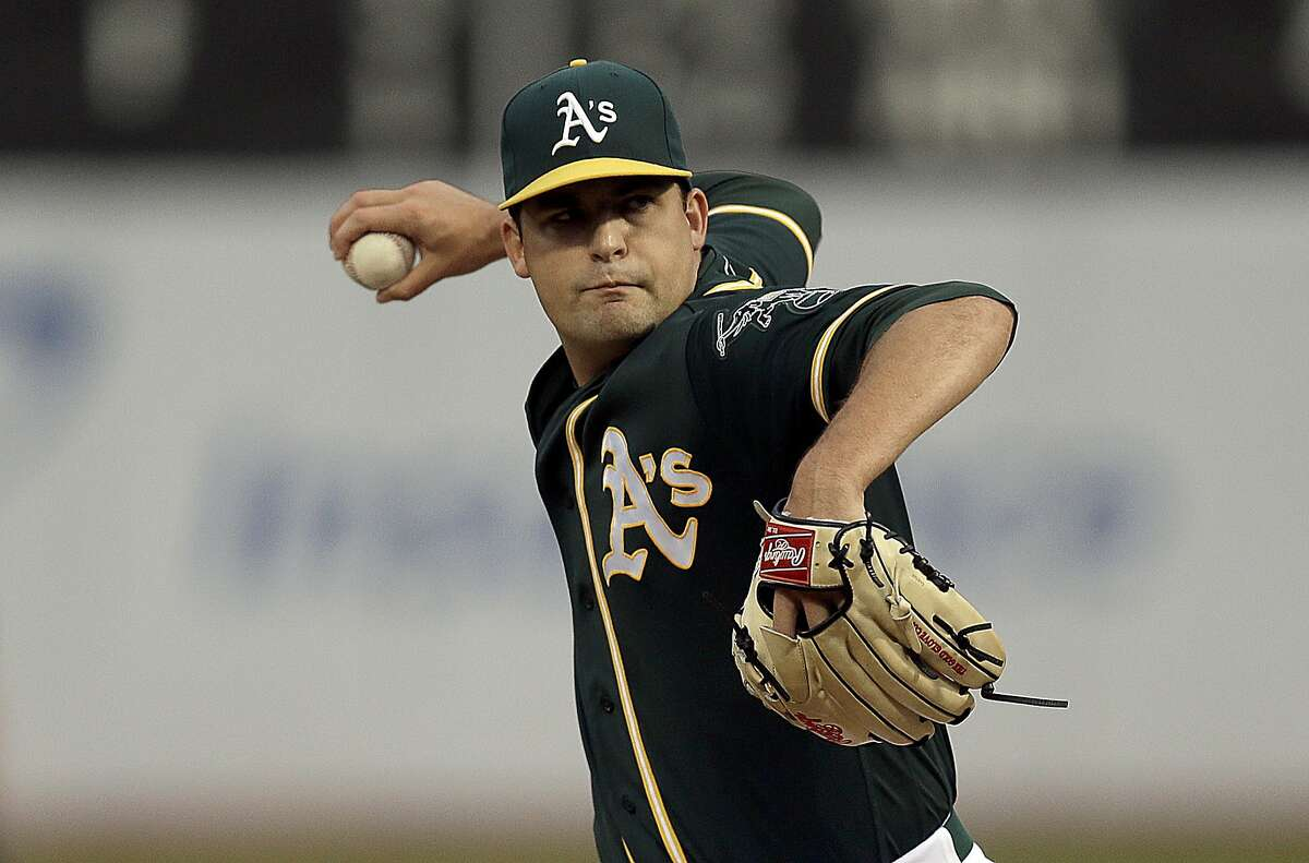 Oakland Athletics pitcher Andrew Triggs works against the Cleveland Indians in the first inning of a baseball game, Monday, Aug. 22, 2016, in Oakland, Calif. (AP Photo/Ben Margot)