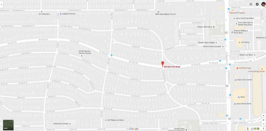 A screenshot of a Google Maps image of the 700 block of West 43rd Street in Houston, Texas. On Aug. 22, 2016, an 85-year-old bicyclist died following a vehicle collision in the area. Photo: File/Google