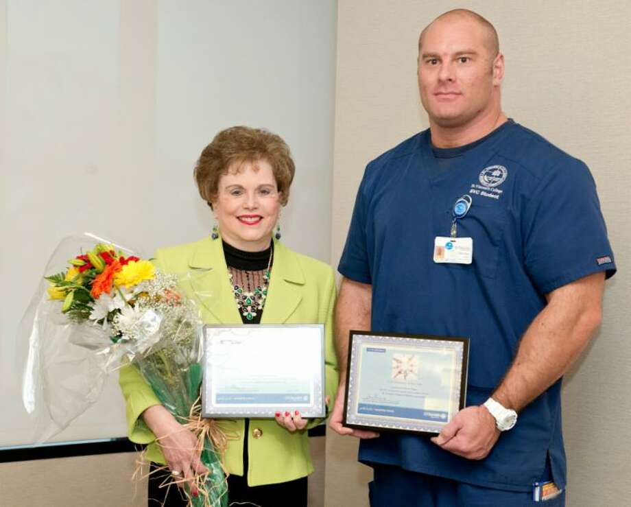 St. Vincent's Medical Center honored its 2016 Volunteers of the Year including Bridgeport resident Laura Durkin and Branford resident Brian D. Sager. Photo courtesy of St. Vincent's Medical Center Photo: Contributed