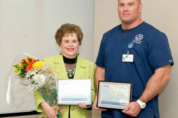 St. Vincent's Medical Center honored its 2016 Volunteers of the Year including Bridgeport resident Laura Durkin and Branford resident Brian D. Sager. Photo courtesy of St. Vincent's Medical Center