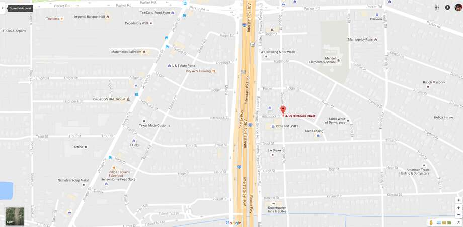 A screenshot of a Google Maps image of the 3700 block of Hitchcock near the Eastex Freeway in Houston, Texas. On Aug. 23, 2016, homicide investigators found a woman's body was found on the street in the area. Photo: File/Google