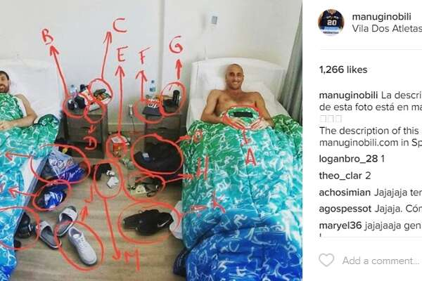 Spurs' Manu Ginobili has shared the same photo of his messy Olympics Village dorm on his Instagram account and blog.