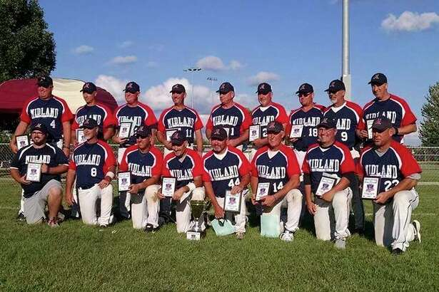 The Midland Explorers Legends fastpitch team took second out of 12 teams at the  International Softball Congress 50-and-over tournament last weekend in Moline, Ill. Pictured are (front row, from left) scorekeeper Trevor Hoon, Bryan Kuehne, Mike Hoon, Steve Lashuay, Darren Haut, Steve O'Keefe, Ken Haut, Steve Bohn; (back row, from left) Doug Sleep, Todd Schultz, Dave Ganton, Timm Richardson, Peter Finn, Rick Engle, Greg Wright, Dale Robbins, Eric Isenhart.