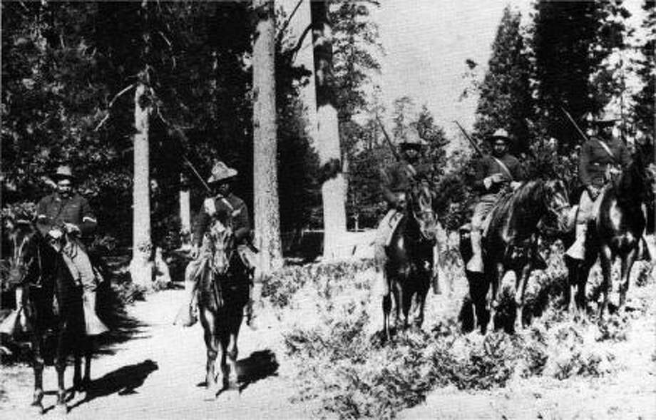 The 24th Infantry, in Yosemite National Park, in 1899. After the Civil War, all-black units of Buffalo Soldiers served in the western U.S.;  in the Spanish-American War; in the Philippines; and in the U.S. attack on Pancho Villa's forces in Mexico. Photo: Yosemite Research Library