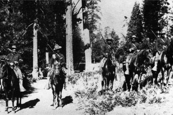 The 24th Infantry, in Yosemite National Park, in 1899. After the Civil War, all-black units of Buffalo Soldiers served in the western U.S.;  in the Spanish-American War; in the Philippines; and in the U.S. attack on Pancho Villa's forces in Mexico.