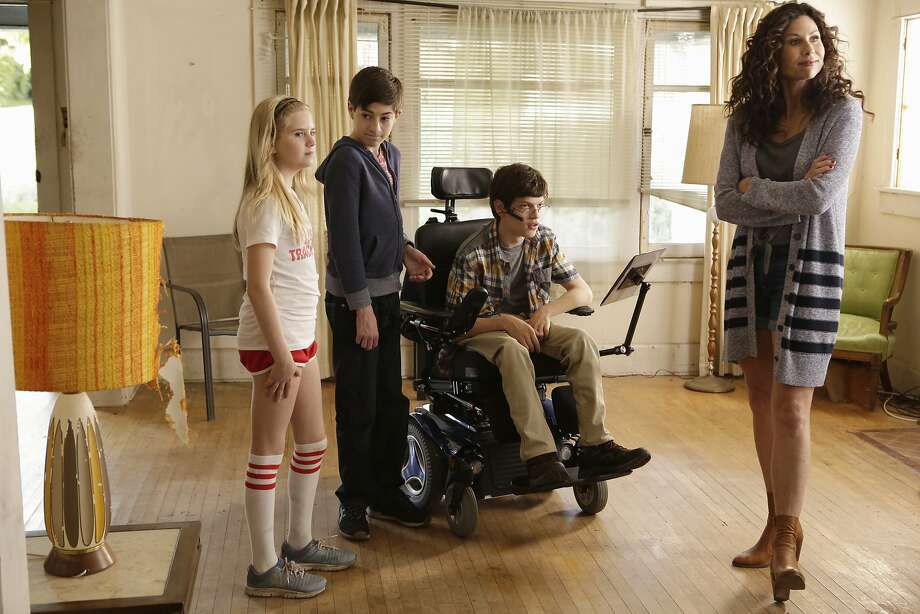 "This image released by ABC shows, from left, Kyla Kennedy, Mason Cook, Micah Fowler and Minnie Driver in a scene from ""Speechless,"" premiering on Sept. 21, (Nicole Wilder/ABC via AP) Photo: Nicole Wilder, Associated Press"