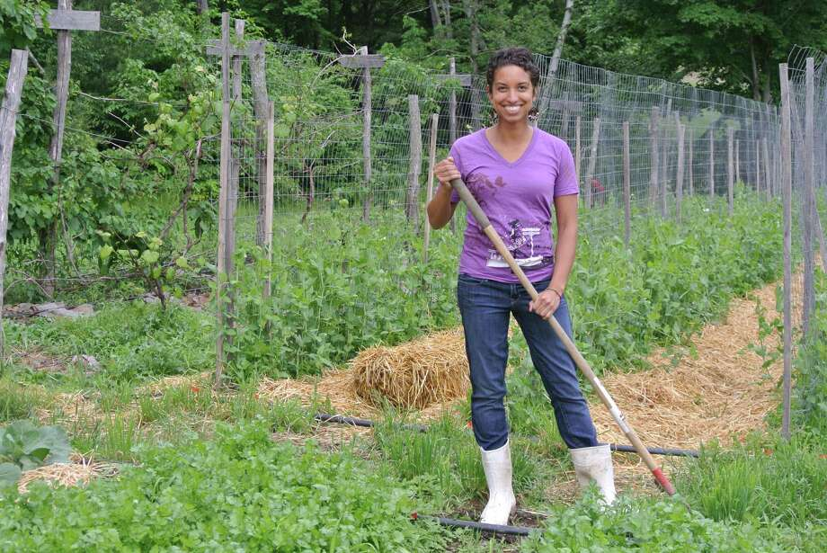 Leah Penniman, co-owner of Soul Fire Farm, splits her time between working the farmland, teaching science at Tech Valley High School in Albany, and organizing social justice causes. (Deanna Fox)