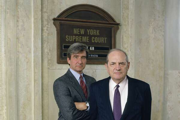 "Sam Waterston as Executive A.D.A. Jack McCoy, Steven Hill as D.A. Adam Schiff in ""Law & Order."""