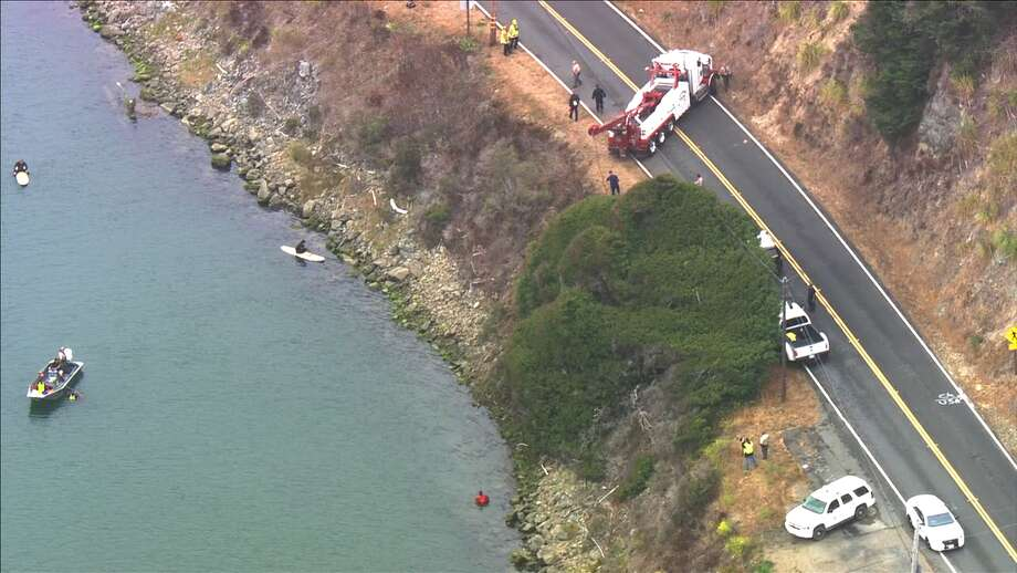 Two children died this morning when a car went into the RussianRiver in Jenner on Tuesday, Aug. 23, 2016. Photo: KTVU