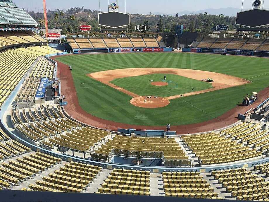The Dodgers took two of three against the Giants at Dodger Stadium in April, the only series the teams have played in Los Angeles this year. Photo: Henry Schulman, San Francisco Chronicle