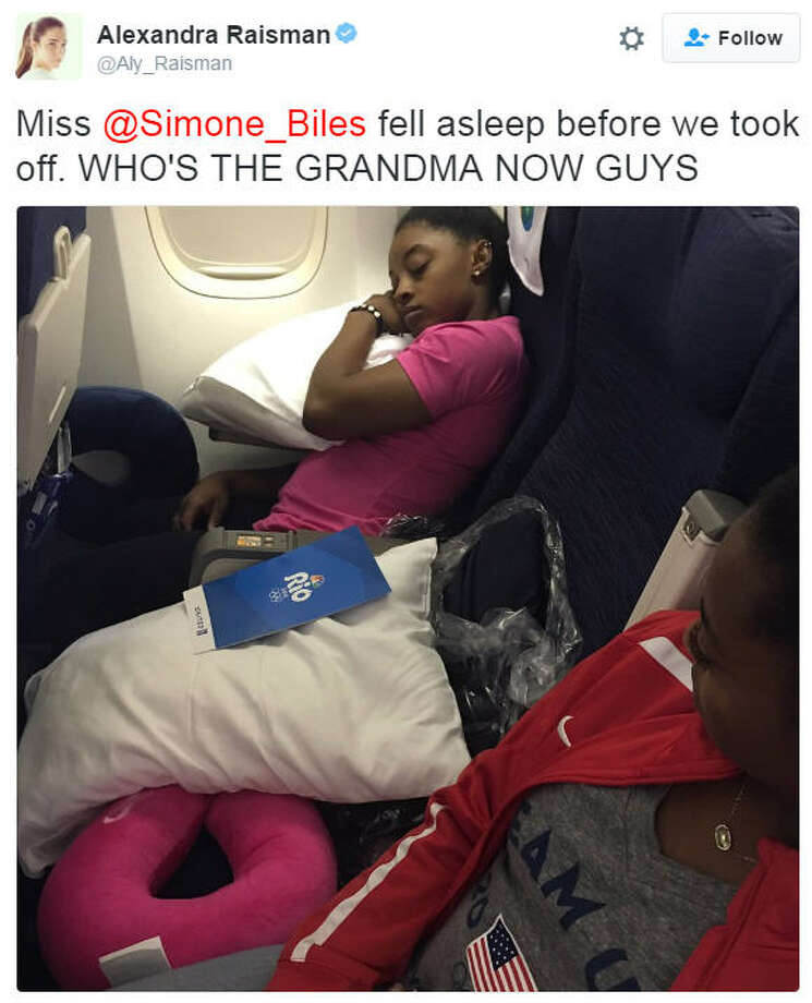 American gymnast Aly Raisman teases Simone Biles for taking a nap on the plane headed back to the states before it even takes off. Photo: Aly Raisman
