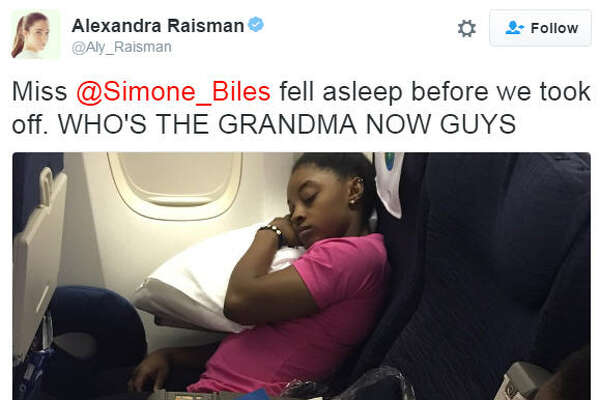 American gymnast Aly Raisman teases teammate Simone Biles for taking a nap on the plane headed back to the states before it even takes off in Rio.
