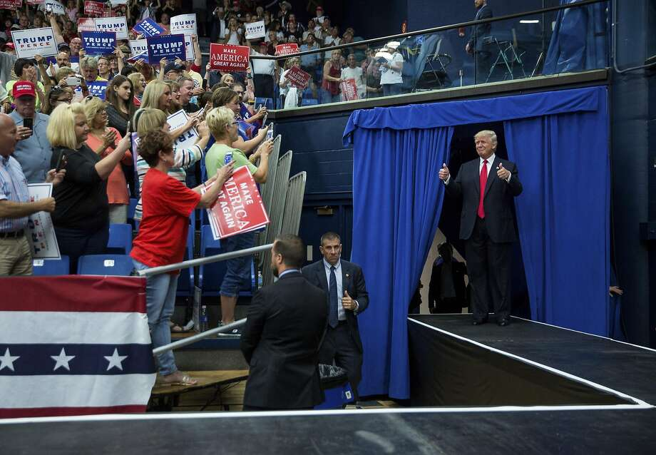 Donald Trump at an event in Akron, Ohio. He has tempered the tone of his hard-line approach to immigration reform. Photo: DAMON WINTER, NYT