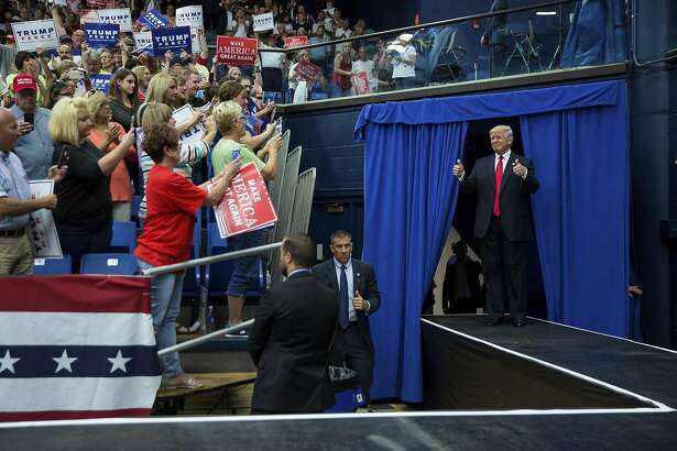 Donald Trump at a campaign event at the James A. Rhodes Arena in Akron, Ohio, Aug. 22, 2016. Trump, tempering the tone of his hard-line approach to tackling immigration reform, said earlier on Monday that he wants to come up with a plan that is �really fair� to address the millions of undocumented immigrants now in the country. (Damon Winter/The New York Times)