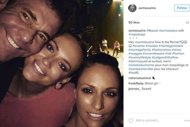 Model Santa Auzina (center) has been posting smiling selfies of her and Dennis Quaid for the past month as they trot the globe together. 