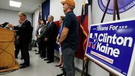 Texas Democrat supporters including Gary Mauro (left) gather to condemn Republican Presidential candidate Donald Trump at a news conference at AFL-CIO offices in Austin on Tuesday, Aug. 23, 2016. Trump will make an appearance for a town hall, fundraiser and rally today in the Austin area. (Kin Man Hui/San Antonio Express-News)
