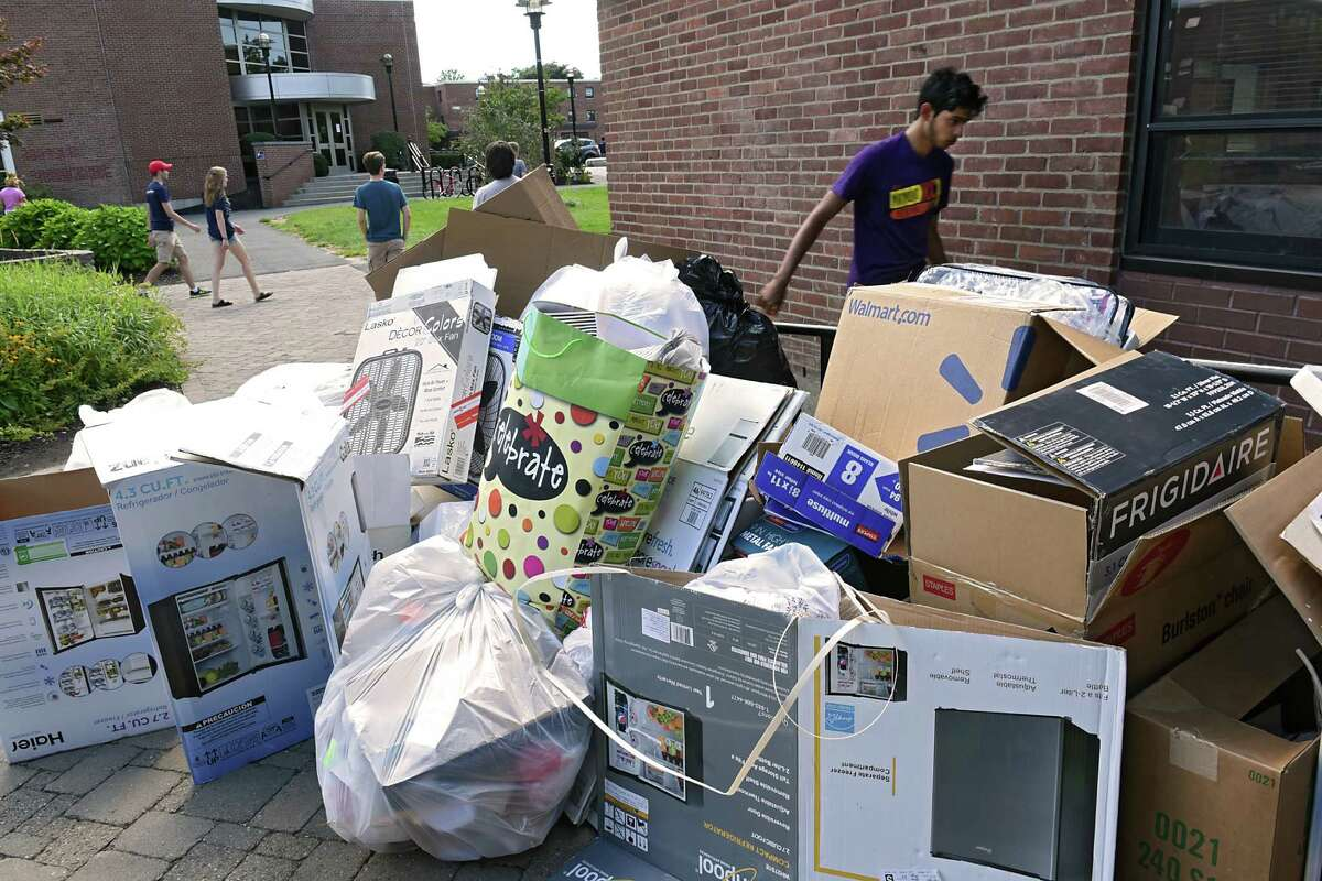 Garbage, mainly cardboard boxes, are seen in a pile outside a dorm at Rensselaer Polytechnic Institute on Tuesday, Aug. 23, 2016 in Troy, N.Y. Many RPI students moved in today. (Lori Van Buren / Times Union)
