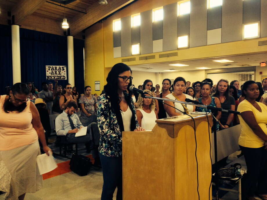 Bridgeport BOE is confronted by a room full of angry kindergarten aides and parents. August 22, 2016 Photo: Linda C Lambeck / Linda C Lambeck