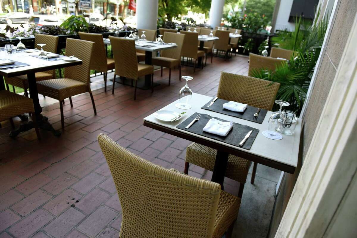 Dining on the veranda on Friday, Aug. 19, 2016, at Salt & Char in Saratoga Springs, N.Y. (Cindy Schultz / Times Union)