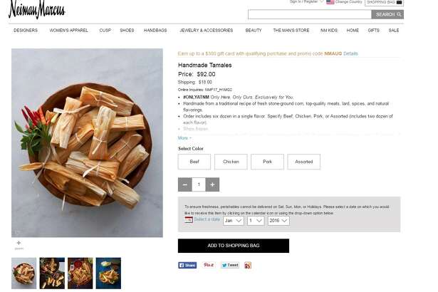 Screengrab of the Neiman Marcus website, where tamales are being sold for $92, plus an $18 shipping charge.