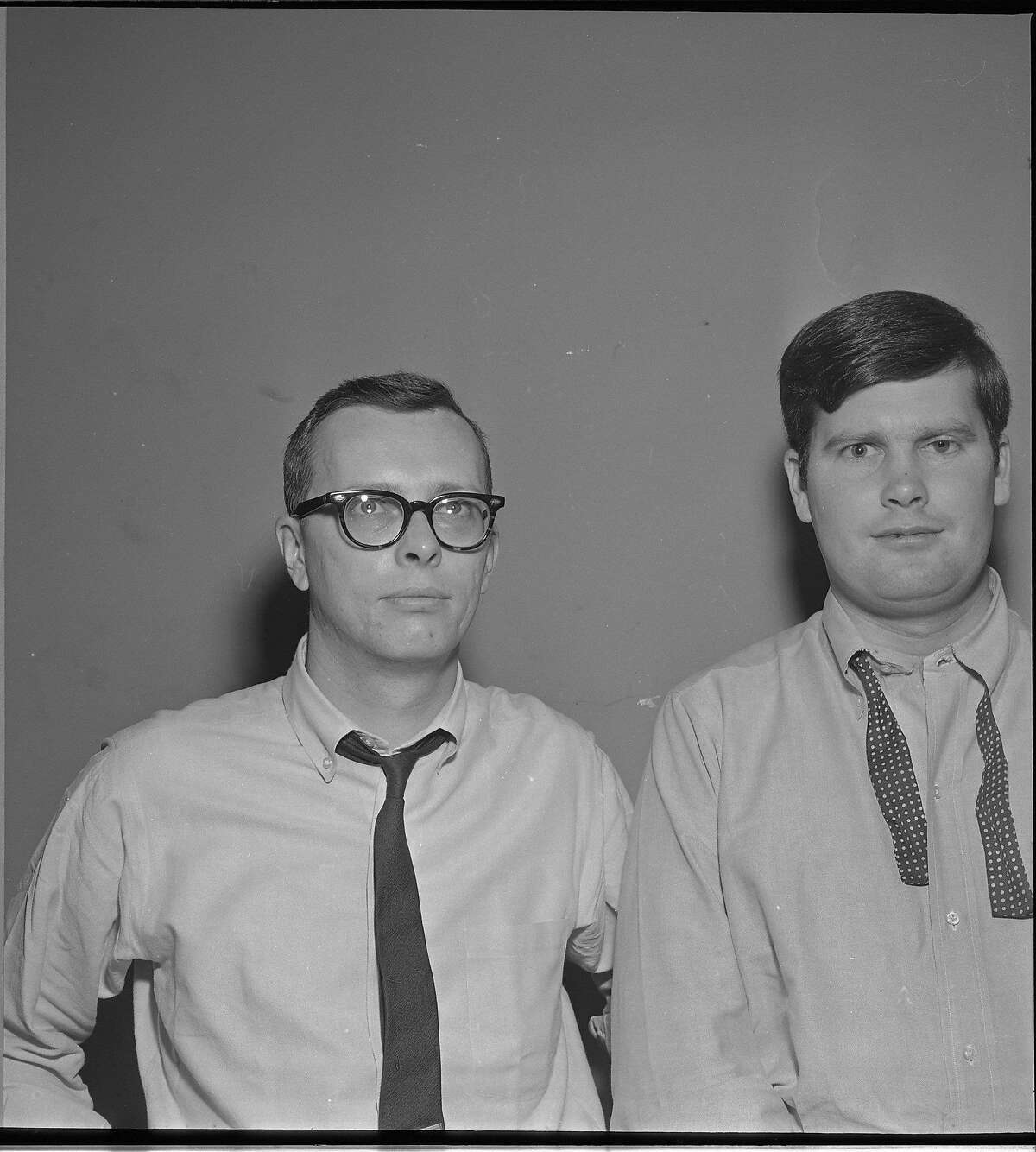 Warren Hinckle, during his first stint writing the the San Francisco Chronicle, person on left unidentified Photo taken April 9, 1963