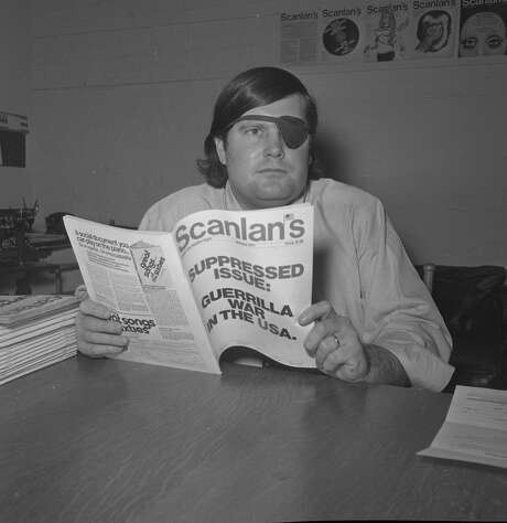 Warren Hinckle at Scanlon's magazine, with suppressed issue, in December 1970. Photo: Photographer Unknown, The Chronicle