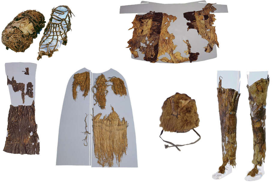The Iceman, a man who lived 5,300 years ago was wearing a fur hat, a sheepskin loincloth and a goat coat, among other things, researchers say. Photo: INSTITUTE FOR MUMMIES AND THE ICEMAN, HO / INSTITUTE FOR MUMMIES AND THE ICEMAN
