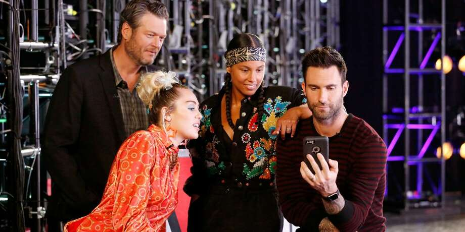 "Miley Cyrus is the latest celebrity to help raise money for Hurricane Harvey storm victims. She's using her Happy Hippie platform to collect donations. Here she's shown on last season's ""The Voice"" with other coaches, Blake Shelton, Alicia Keys and Adam Levine."