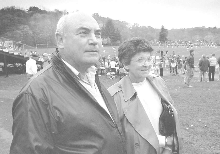 First Selectman John Margenot with his wife Dolores at half time at the Greenwich and Danbury football game on Nov. 2, 1991. Photo: Steve Daniel