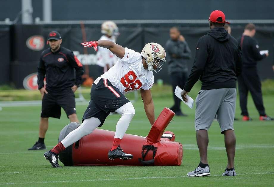 San Francisco 49ers' Ronald Blair practices during an NFL football rookie minicamp in Santa Clara, Calif., Saturday, May 7, 2016. (AP Photo/Jeff Chiu) Photo: Jeff Chiu, Associated Press