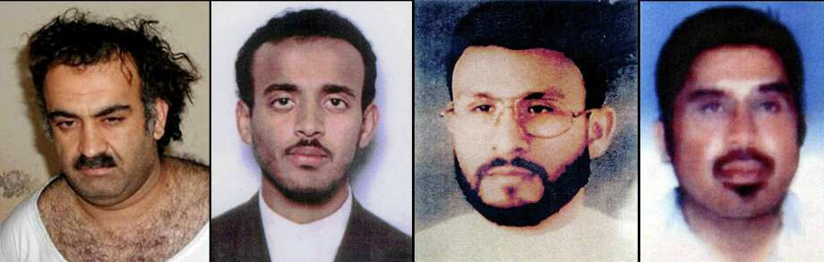 (NYT27) UNDATED -- Sept. 6, 2006 -- TERROR-DETAIN-2 -- File photos of terrorism suspects moved to the naval base in Guantanamo Bay for trials, according to President Bush in a speech Wednesday, Sept. 6, 2006. From left, of Khalid Sheik Mohammed, believed to be the No. 3 al-Qaida leader before he was captured in Pakistan in 2003; Ramzi Binalshibh, an alleged would-be Sept. 11 hijacker; Abu Zubaydah, who was believed to be a link between Osama bin Laden and many al-Qaida cells before he was captured in Pakistan in 2002, and Riduan Isamuddin, known as Hambali, who was suspected of being the mastermind of a string of deadly bomb attacks in Indonesia until his 2003 arrest in Thailand. (The New York Times)  Ran on: 09-07-2006 Abu Zubaydah Ran on: 09-07-2006 Abu Zubaydah Ran on: 09-07-2006  Ran on: 09-07-2006 Photo: NYT, STF / NYTNS