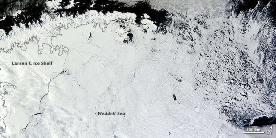 Larsen C ice shelf and the Weddell Sea, covered with sea ice. Photo: NASA/Handout