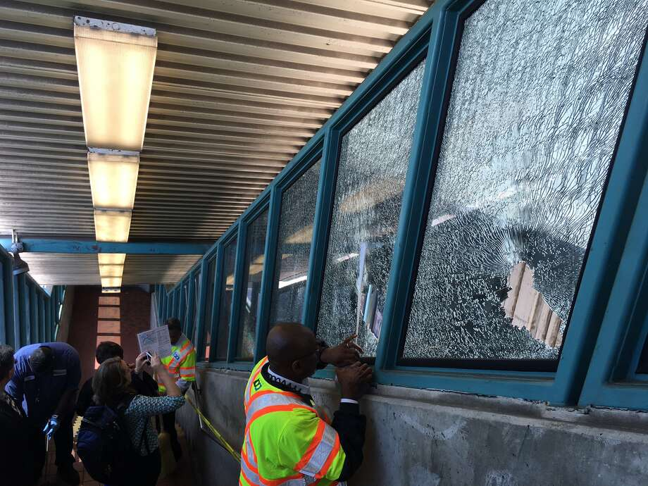 A man armed with a golf club was seen smashing windows at the West Oakland BART station. He also smashed the windows of a train, police said. Photo: Taylor Huckaby