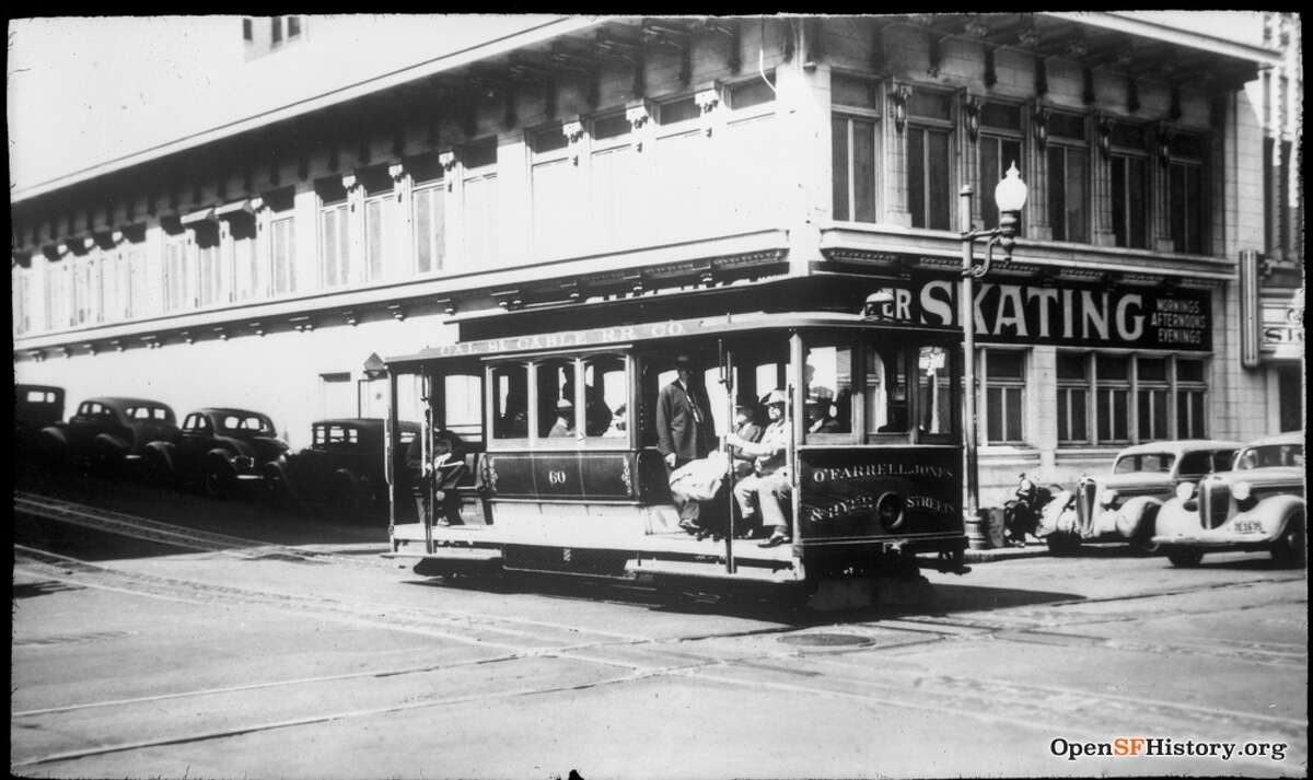 California Street Cable Car No. 60 circa 1938 on O'Farrell, Jones and Hyde Line. looking toward northeast corner of Eddy and Jones. Courtesy of OpenSFHistory.org.