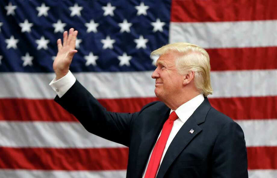 Republican presidential candidate Donald Trump arrives to speak at a campaign rally in Akron, Ohio, Monday, Aug. 22, 2016. (AP Photo/Gerald Herbert) Photo: Gerald Herbert, STF / Copyright 2016 The Associated Press. All rights reserved. This material may not be published, broadcast, rewritten or redistribu