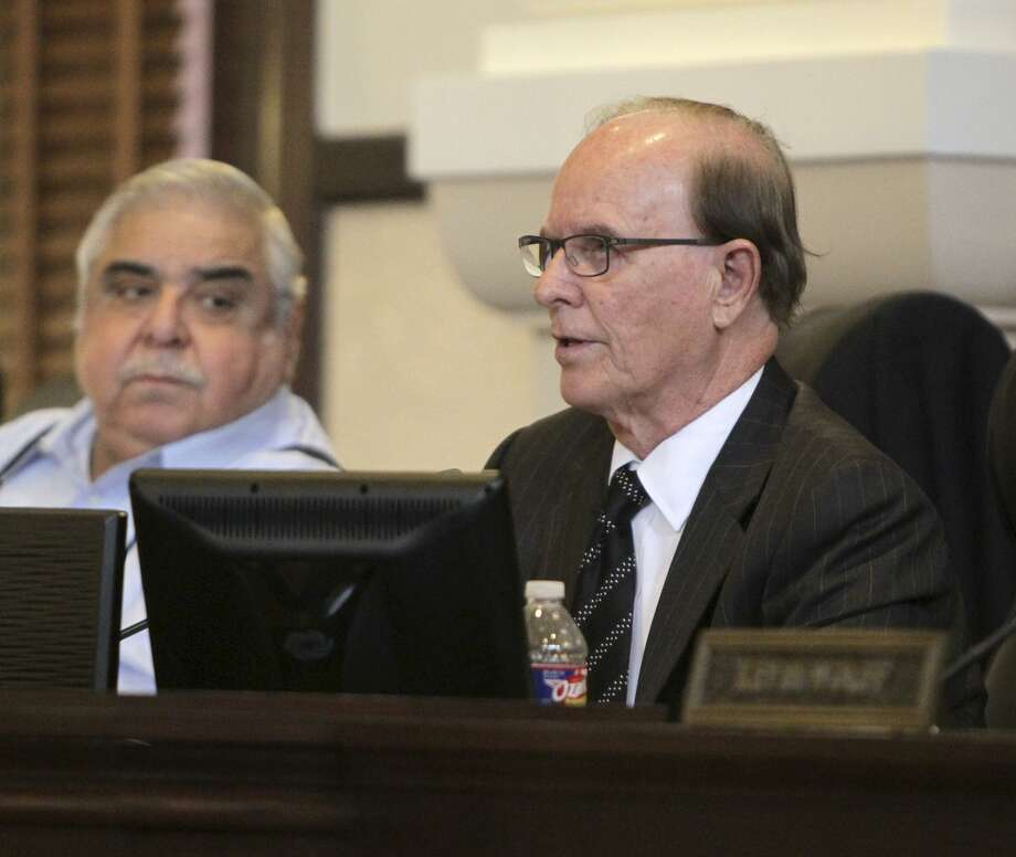 Bexar County Commissioner Paul Elizondo (center) and County Judge Nelson Wolff (right) will be up for re-election in 2018. Opponents will attempt to make their ages an issue. Photo: Express-News File Photo / © 2015 San Antonio Express-News