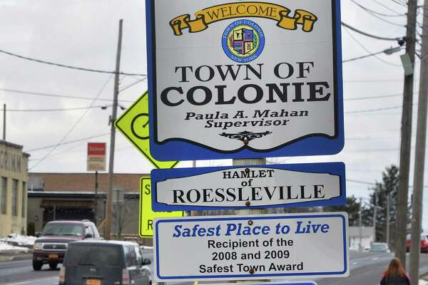 Welcome to Colonie sign on Central Avenue at the Albany city line  Wednesday Feb. 10, 2016, in Colonie, NY.  (John Carl D'Annibale / Times Union archive)