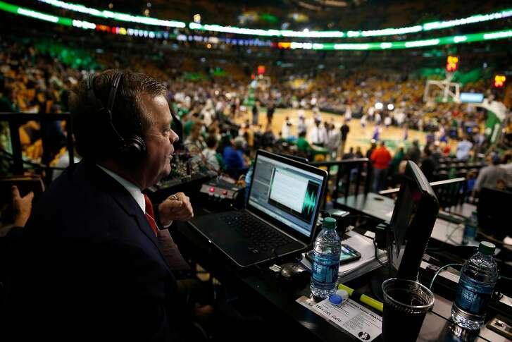 Golden State Warriors' radio play by play announcer Tim Roye before Warriors' game against Boston Celtics at TD Garden in Boston, Massachusetts on Friday, December 11, 2015.