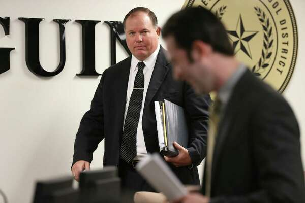 Sequin Independent School District Superintendent Stetson Roane arrives for a special meeting to discuss a proposed partnership with Guadalupe Media last week.