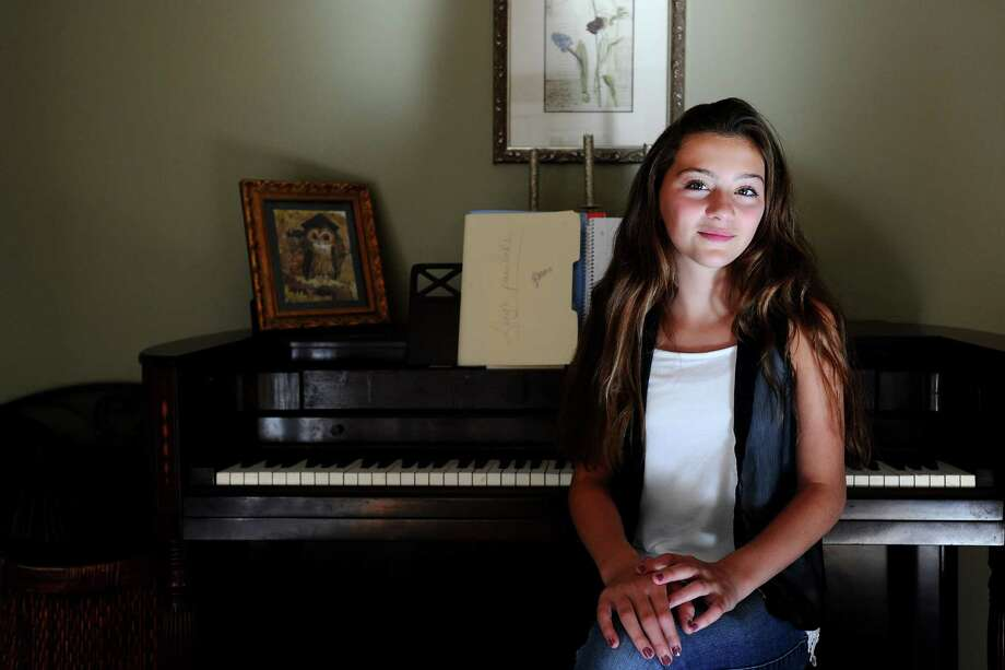 """Lucy Scorziello, 12, who will be seventh-grader at Rippowam Middle School, will sing """"America the Beautiful"""" next week at the U.S. Open tennis tournament in New York. Photo: Michael Cummo / Hearst Connecticut Media / Stamford Advocate"""