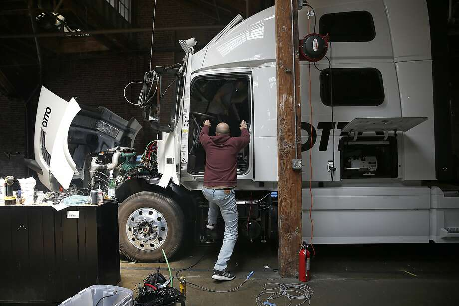 A truck is overhauled to be autonomous at Otto, a San Francisco startup. Photo: Liz Hafalia, The Chronicle