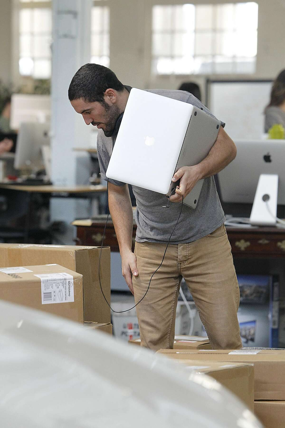 Electrical hardware engineer Ronen Sarig works at Otto, a self-driving truck startup, on Tuesday, August 23, 2016, in San Francisco, Calif.