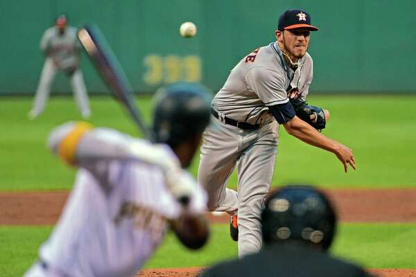 Houston Astros' Joe Musgrove pitches to Pittsburgh Pirates' Andrew McCutchen during the third inning of a baseball game in Pittsburgh, Tuesday, Aug. 23, 2016. (AP Photo/Fred Vuich)