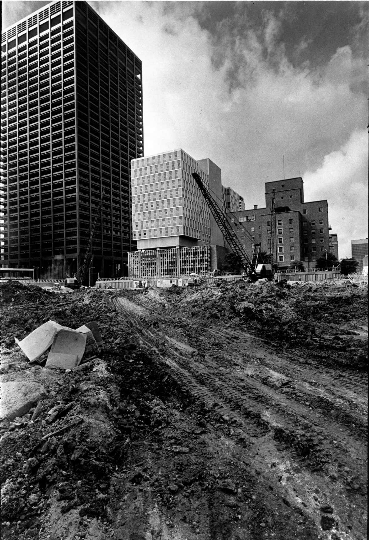 On May 27, 1967 a one-block area bounded by Smith, Louisiana, Walker and McKinney in downtown Houston is leveled for the construction of the 50-story One Shell Plaza. Gerald Hines Interests is the developer of the downtown skyscraper being built by W.S. Bellows Construction Co.