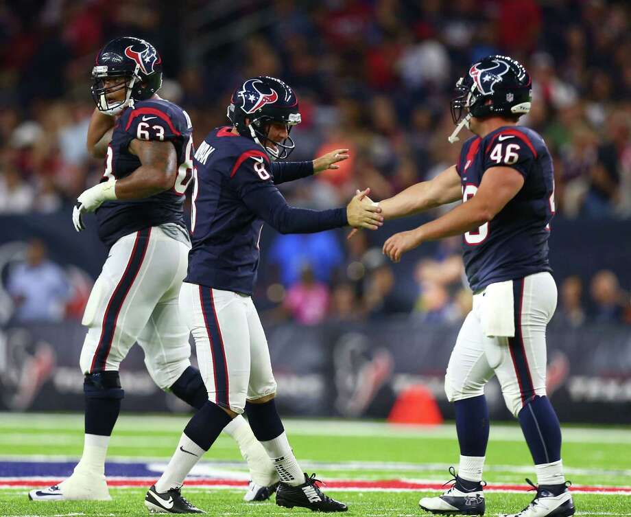 Houston Texans kicker Nick Novak (8) celebrates his field goal with Jon Weeks (46) during the second quarter of an NFL game at NRG Stadium, Saturday, Aug. 20, {year}, in Houston. ( Karen Warren / Houston Chronicle ) Photo: Karen Warren, Staff Photographer / Houston Chronicle / 2016 Houston Chronicle