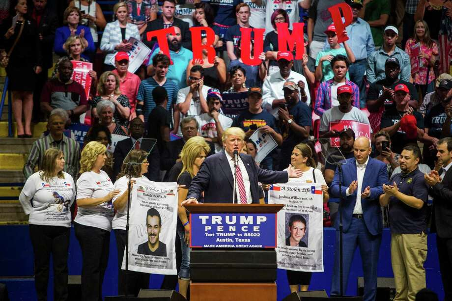 AUSTIN, TX - AUGUST 23: Republican presidential candidate Donald Trump brings border patrol members as well as mothers whose sons had been killed by immigrants to the stage during a rally at the Travis County Exposition Center on August 23, 2016 in Austin, Texas.  Trump emphasized his stance in immigration at the Texas stop. Photo: Drew Anthony Smith, Getty Images / 2016 Getty Images