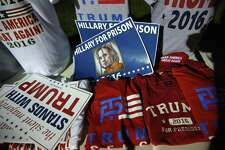 AUSTIN, TX - AUGUST 23:  T-shirts and posters sit for sale outside a rally for Republican Presidential nominee Donald Trump on August 23, 2016 in Austin, Texas. Thousands of attended Trump's address in Austin, traditionally a a progressive bastion in conservative Texas.