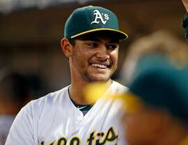 Oakland Athletics' starting pitcher Sean Manaea smiles after leaving game after 7 innings against Cleveland Indians' during MLB game at Oakland Coliseum in Oakland, Calif., on Tuesday, August 23, 2016.